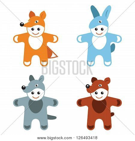 children's carnival costumes animals hare fox wolf bear vector illustration