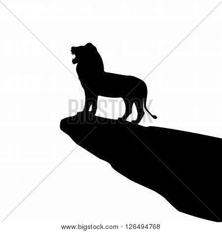 Vector illustration of isolated lion silhouette on the rock. Isolated on white background. Roaring Lion.