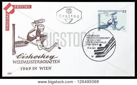AUSTRIA - CIRCA 1967 : Cancelled First Day Cover letter printed by Austria, that shows Hokey player.