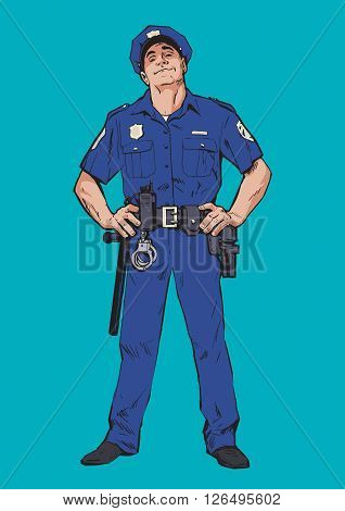 Police officer standing to his full height, color illustration of man in the service, smug man looks at you from the top, blue uniforms, arms on hips, hand-drawn sketch