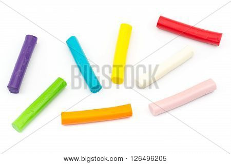 Colorful Rod Plasticine Arranging On White Background