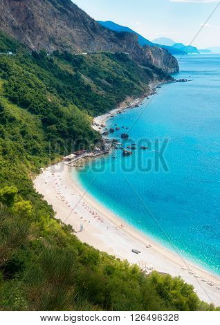 Beach on the Montenegrin coast the bay in the Adriatic Sea a top view poster