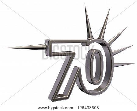 number seventy with prickles on white background - 3d illustration