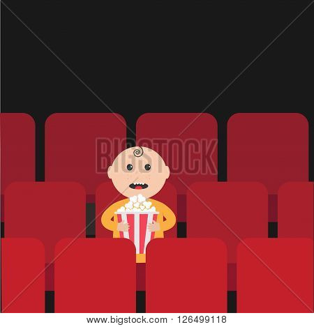 Cartoon man little boy character sitting in movie theater. Film show Cinema background. Viewer watching movie. Popcorn box. Flat design Vector illustration