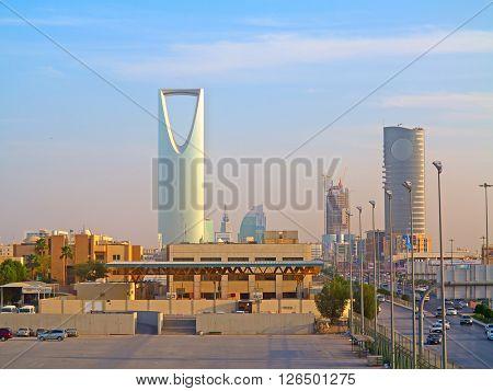 RIYADH - FEBRUARY 29: Riyadh downtown at the evening on February 29, 2016 in Riyadh, Saudi Arabia.