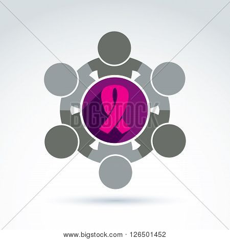 Breast cancer awareness idea. Vector illustration of a group of people cooperating, association for female health protection.