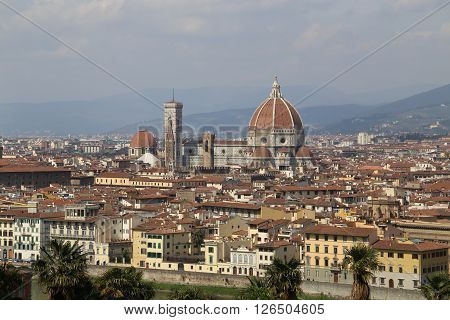 View of downtown Florence in Italy Europe