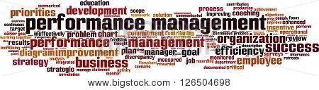 Performance management word cloud concept. Vector illustration