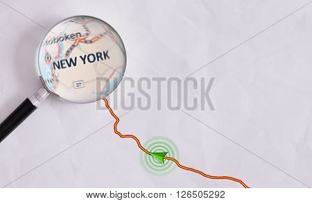 Concept Travel Route Destined For New York