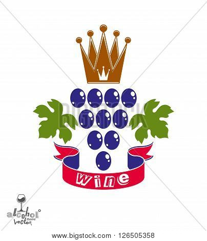 Stylized grape vine vector illustration. Winery symbol best for use in advertising and graphic design. Colorful Grape with vine tendrils and leaves isolated on white.