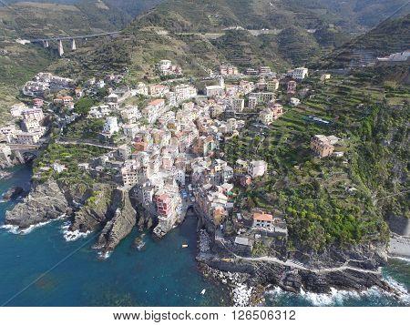 Aerial view of Riomaggiore on the Ligurian coast in Italy