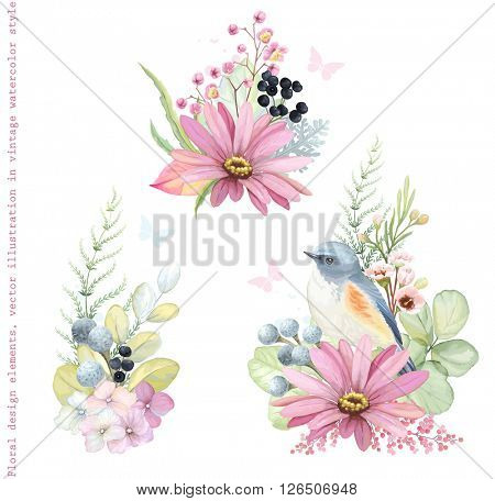 Collection vector decorative design of flowers, plants, Red-flanked Bluetail bird, branches and leaves in vintage style with butterflies.