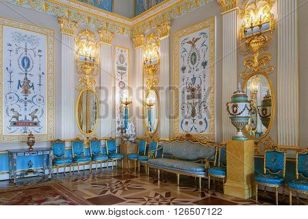 SAINT PETERSBURG, RUSSIA - MARCH 17, 2016: Interior of the Catherine Palace in Tsarskoye Selo (Pushkin). It was summer residence of the Russian tsars, now it is a famous museum
