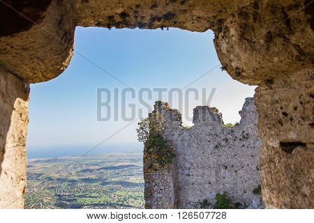 Kantara Cyprus - April 5 2016: View through Kantara Castle. This is the easternmost castle of the three Pentadaktylos mountain range castles in the Ammochostos district in Cyprus. Built at 2068ft it commands both the northern coast and the Mesaoria plain