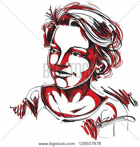 Hand-drawn Vector Illustration Of Beautiful Romantic Woman. Colorful Image, Expressions On Face Of Y