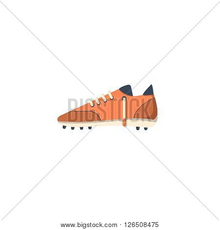Sport shoe with cleats flat icon isolated on white background