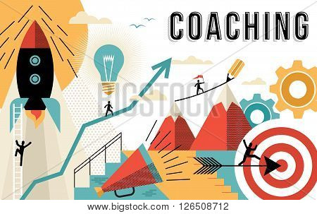 Coaching Concept Line Art Colorful Modern Design