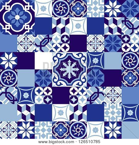 Ceramic Mosaic Background Blue Moroccan Style
