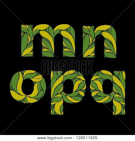 Beautiful Font With Herbal Ornament. Green Capital Letters Decorated With Spring Floral Pattern. M,