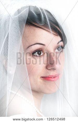 Bridal portrail veil beautiful woman marriage