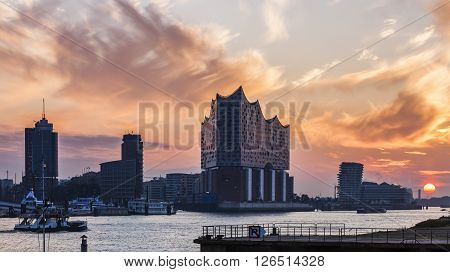 Hamburg architecture across the river at sunrise. Hamburg Germany.