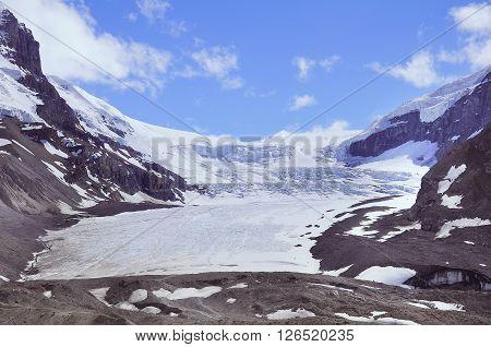 Athabasca Glacier - part of Columbia Icefield. Jasper National Park Alberta Canada.