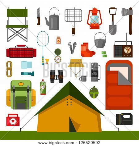 Vector set of camping accessories. Tent, sleeping bag, knife, socks, chair, thermos, mug, batteries, badminton, grill for BBQ,. Camping flat cartoon style vector illustration. Equipment for camping