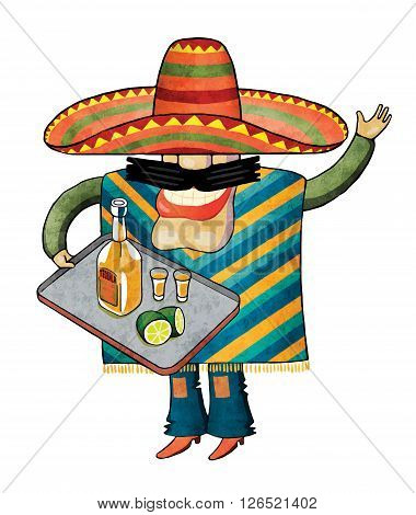Mexican holding a tray of tequila. The mustachioed Mexican dressed in poncho and sombrero.