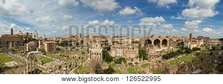 Panorama of the ruin field of the Forum Romanum Rome Italy
