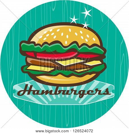 Illustration of a retro 1950s diner style hamburger burger or cheeseburger with meat patty lettuce tomato and cheese slices in bun set inside circle with woodgrain.