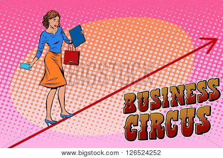 Businesswoman acrobat business circus pop art retro style. Balance in business. Woman walking on a rope at height. Chart of sales and growth. Circus and business