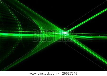 Reflection of a green laser on a mirror. ** Note: Visible grain at 100%, best at smaller sizes