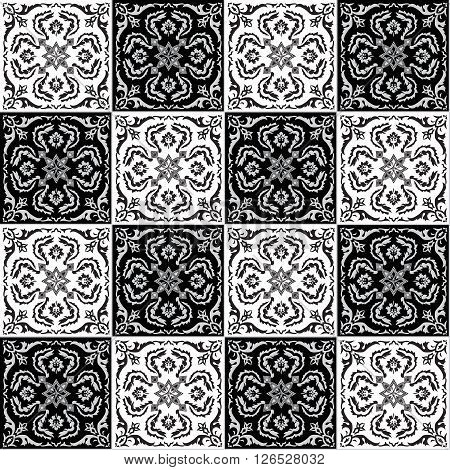 Hand drawing seamless pattern for tile in black and white colors. Italian majolica style. Vector illustration. The best for your design textiles posters