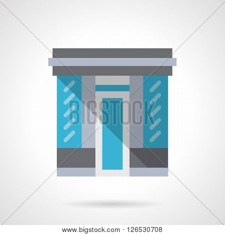 Facade of store with glass wall and doors. Storefront and showcases. Commercial architecture.  Flat color style vector icon. Web design element for site, mobile and business.