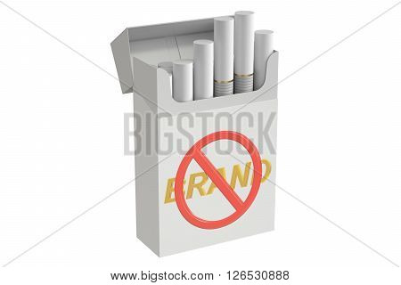 Cigarettes in plain packaging with no brain sign 3D rendering isolated on white background