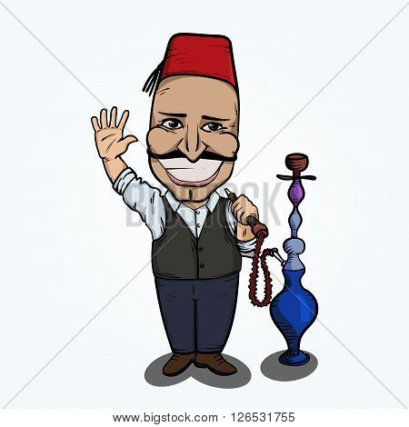 Turkish man with hookah waving hand. Hand drawn illustration. EPS10 vector