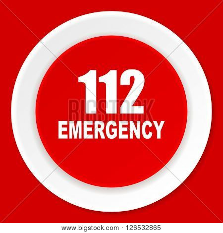 number emergency 112 red flat design modern web icon