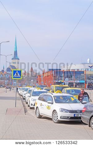 Tallin, Estonia - April, 6, 2016: taxi station near the Tallin harbour, Estonia