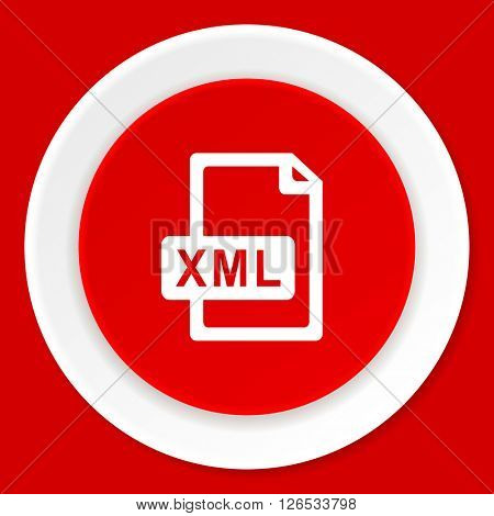 xml file red flat design modern web icon