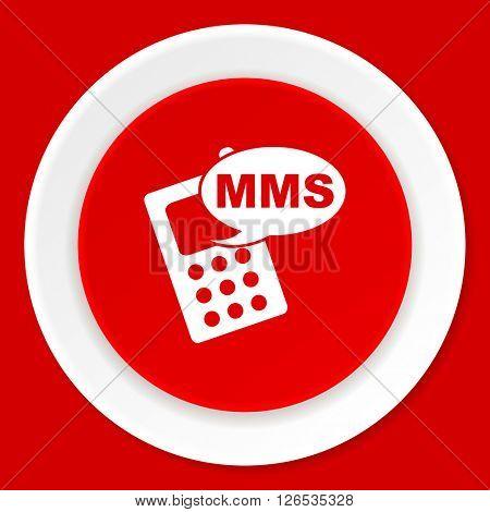 mms red flat design modern web icon