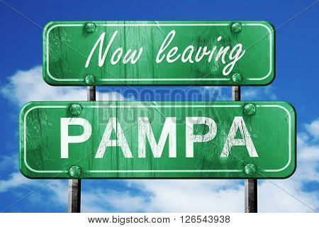 Now leaving pampa road sign with blue sky