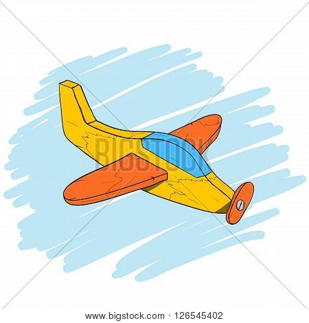 Handmade vintage wooden toy plane, used and scratched, isometric hand drawn vector eps10 illustration