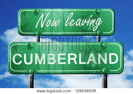 Now leaving cumberland road sign with blue sky