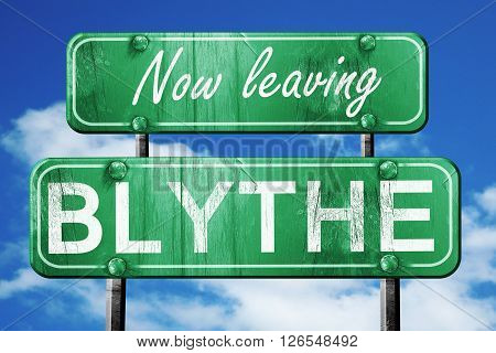 Now leaving blythe road sign with blue sky