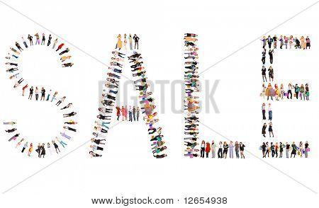 Verkauf Zeichen hergestellt aus 100 Personen