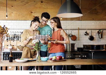 Bistro Brunch Casual Cheerful Kitchen Together Concept