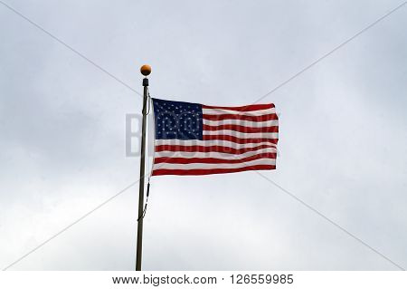The American Flag flies high at the Abraham Lincoln National Cemetery in Elwood, Illinois.