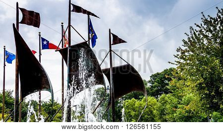 Jamestown United States - August 8 2015: Flags in the commemorative plaza at Jamestown Virginia historic site.