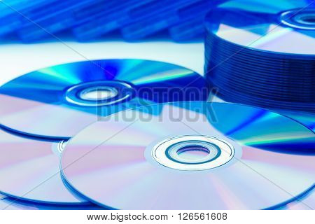 Closeup of a stack compact discs (CD/DVD)