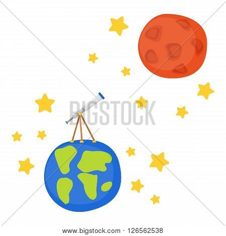 Vector cartoon illustration with telescope on Earth to Mars. Flight to Mars and Moon concept. Great for children book/encyclopedia cover illustration. Cartoon telescope. Universe travel adventure